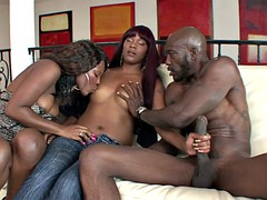 hot black females have hardcore threesome fuck with a stud