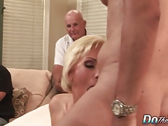 Blonde MILF wife take huge cock