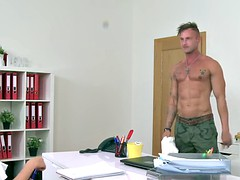 Muscled inked guy bangs female agent in office