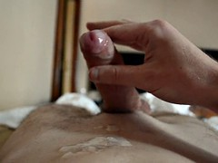 Uncut my big wet cock blows a huge load on the chest
