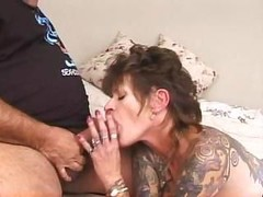 Skillful actor Ron Jeremy and tattooed wannabe fuck enthusiastically