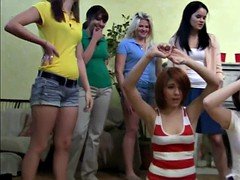 Teen college lezzies straponfucked in group