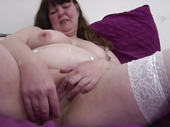 Ugly aged mother with hungry cum bucket