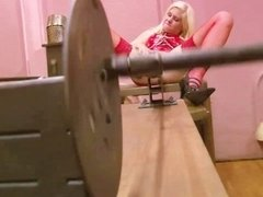Latex loving blonde gets tied and toyed