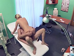 Hot blonde nurse Nikky wants to ride the patients dick