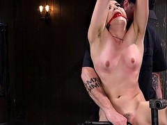 Slave in standing bondage cunt toyed