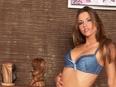 Eufrat delights in a sexy striptease with pussy masturbation