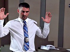 Huge Blonde Detective Tits at Work