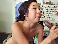 Mila Jade anal fuck while sucking a BBC at the same time
