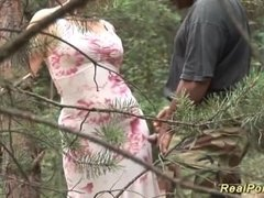 busty stepmom loves sex in nature