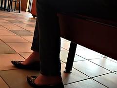 Crystal black ballet flats public shoeplay barefoot Full Vid
