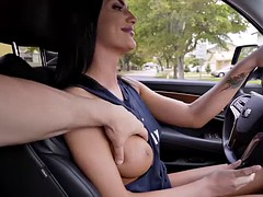 Busty gf August Ames sucks his bfs dick and then fucks it