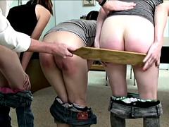 Three girl bare bottom school paddling