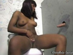ebony legal teen does deepthroat on a large white gloryhole cock