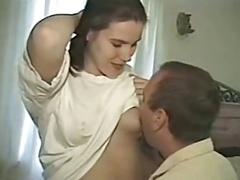 美女, フェラチオ, 乳首, ヴィンテージ
