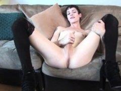 Casting tranny wanking her cock slowly