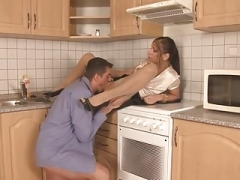 Brunette In Stockings - Kitchen Sex