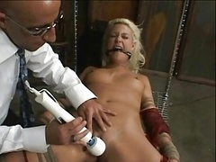 blond servant bound and also fucked