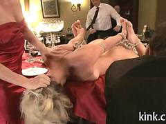 Blonde roped chick dominated at party with fucking machine