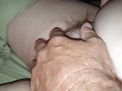 both of us gently rubbing her soft bush
