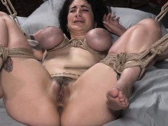 Tattooed interracial slut bounded and fucked