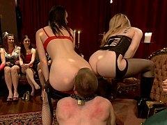40 ladies group-fuck their slaveboy