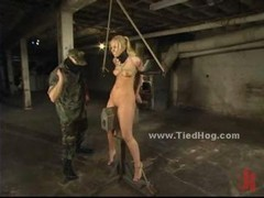 Sexy blonde bitch immobilized and moreover pinioned in leather and moreover from the upper floor gets tortured in bondage pervert spanking movie area