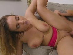 A blonde with big natural boobs is getting penetrated well