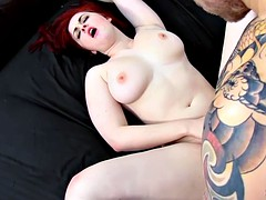 Fiery-headed redhead babes pose, suck and fuck