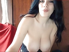 Russian cam-girl with big nipples titties