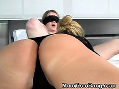 Blonde MILF And Teen Eating Pussy And Banged In Threesome