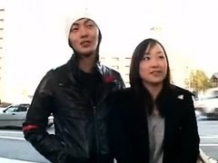 Pretty young Asian chick sucks her BF's tongue and gets her