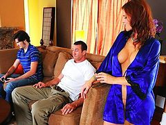 Horny huge boob Eager mom mom is craving her son's best friend's huge love pole