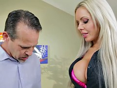 Beautiful blonde MILF Nina Elle sells a house with her oral acrobat skills