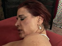 Huge sausage for very hairy mature cunt