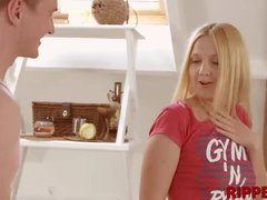 Blonde cutie Sharon gets rough fucked by her neighbor crush
