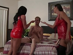 2 hot woman fuck guy with strap on AMAZING