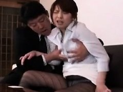 Pretty Japanese lady in pantyhose surrenders her body to a