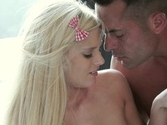 Blonde with long hair is opening up her cunt for some hard pounding