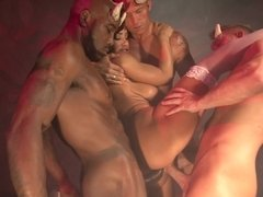 A kinky bitch with big boobs is getting a spicy gangbang