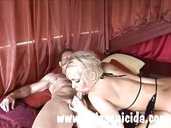 Cum thirsty blonde Britney got juice from two big cocks