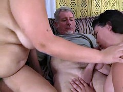 BBW juicy pink jasmine and jade seduce a guy with their plumpn
