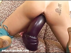 Busty Shannon Kelly gaped by the mother of all brutal dildos
