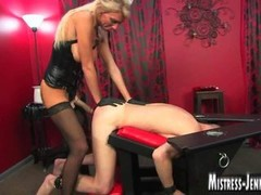 Tall leggy blonde Dom strapon and making love of big dicked suffering ligatured dominated male