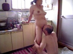 Japanese Sexually available mom at kitchen