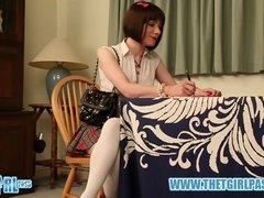 Brunette crossdresser schoolgirl gets hard ass spanking over the desk for cheating with Luci May