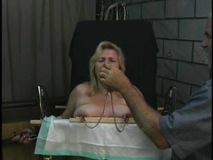 Old boy tortures chubby light-haired s ample tits