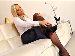 Fetisch, Fußfetisch, Lingerie, Büro, Sekretärin, Strümpfe