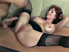 Sexy redhead milf in stockings fucks really good 2