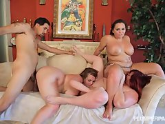 3 Huge Booty White Girls Get Plowed by 1 Latino Stud